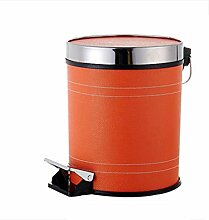 Mülleimer Einfarbig Home Pedal Mülleimer Bad Schlafzimmer Mülleimer Material Leder Spezifikationen 25 * 32Cm , Orange , L