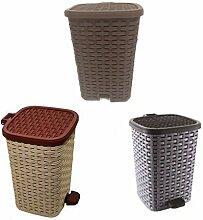 Mülleimer für Müllsäcke, aus Rattan Plastik Gummi für Daheim oder fürs Büro - Wähle Größe & Farben - Schokoladen Braun, Apfel, Plastik, 6L