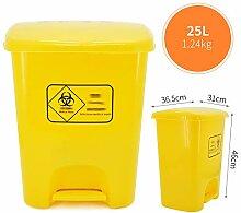 Mülleimer Gelber Kunststoff Mit Einer Klappe  
