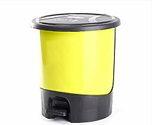 Mülleimer Kreativ Plastik Müllbehälter Home Badezimmer Wohnzimmer Küche Mülleimer Pedal groß Mülleimer , yellow , L