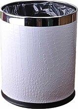 Mülleimer Kreatives Leder Mülleimer Toilette Badezimmer Edelstahl Mülleimer Schlafzimmer Kein Deckel Mülleimer Größe 22,5 * 27cm , white