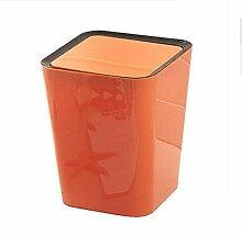 Mülleimer Kunststoff Llarge Mülleimer Kreative Haushalt Lagerung Fässer Küche Wohnzimmer schütteln Abdeckung Mülleimer Spezifikationen 24.5 * 24.5 * 30cm , orange