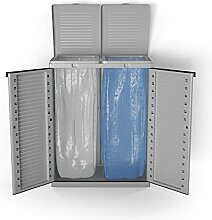 Mülleimer Kunststoff Mülltonnenbox Mülltrenner Gelber Sack 2-fach Schrank Abfalleimer Gartenschrank Grau