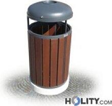 Mülleimer mit Holz für Aussenbereich h28798