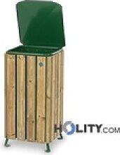 Mülleimer mit Holz für Aussenbereich h35004