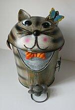 Mülleimer Müllbehälter Abfallbehälter Tretmülleimer Katze - handbemalt - jedes Stück ein Unikat!