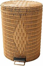 Mülleimer Rattan Fuß Pedal Mülleimer Toilette Badezimmer groß Kreativ Haushalt Bambus Mülleimer Wohnzimmer Küche Mülleimer , yellow , 5L