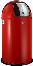 Mülleimer rot Klappe verchromt Einsatz feuerverzinkt ca. 50 Liter - Modell Pboy