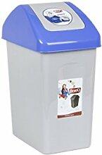 Mülleimer Schwingdeckel 10 Liter blau Papierkorb