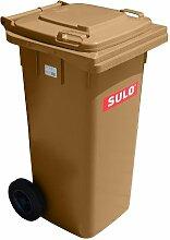 Mülleimer SULO, handgearbeitete 120L mit Rädern und Deckel braun (22112)