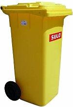Mülleimer SULO, handgearbeitete 120L mit Rädern und Deckel gelb (22071)