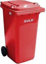 Mülleimer SULO, handgearbeitete 240L mit Rädern und Deckel rot (22115)