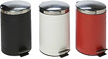 Mülleimer Treteimer Pedaleimer Abfalleimer Müllbehälter Pedal Geriffelt 12L Groß (Schwarz)