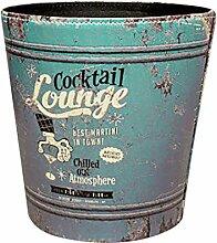 Mülleimer, vicoki Europäische Retro Abfalleimer PU Leathe Trash kann Bin Papier Korb können Garbage Mülleimer ohne Deckel., PU-Leder, Cooktail Lounge Pattern, 9.8x7.9x10.6Inch