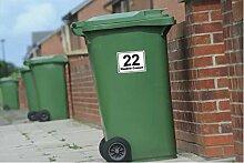 Mülltonnen-Aufkleber aus Vinyl, 150 mm x 100 mm, mit Hausnummer und Namepersonalisierbar, Set mit 4Stück