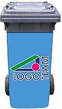 Mülltonnen-Aufkleber mit individuellem Firmen-Logo 37 cm x 82 cm für 240 l Tonne
