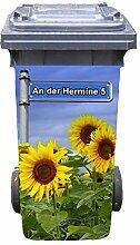 Mülltonnen-Aufkleber mit individueller Adresse Motiv Sonnenblume Metallschild 37 cm x 82 cm für 240 l Tonne