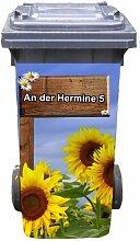 Mülltonnen-Aufkleber mit individueller Adresse Motiv Sonnenblume Holzschild 37 cm x 82 cm für 240 l Tonne