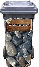 Mülltonnen-Aufkleber mit individueller Adresse Motiv Steine Holzschild 31 cm x 70 cm für 120 l Tonne
