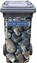 Mülltonnen-Aufkleber mit individueller Adresse Motiv Steine Metallschild 31 cm x 70 cm für 120 l Tonne