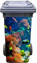 Mülltonnen-Aufkleber Motiv Aquarium 37 cm x 82 cm für 240 l Tonne