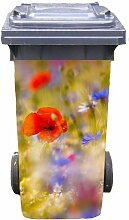 Mülltonnen-Aufkleber Motiv Blumenfeld 37 cm x 82 cm für 240 l Tonne