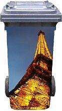 Mülltonnen-Aufkleber Motiv Eifelturm 31 cm x 70 cm für 120 l Tonne