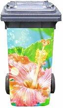 Mülltonnen-Aufkleber Motiv Hibiskusblüte 37 cm x 82 cm für 240 l Tonne