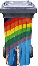 Mülltonnen-Aufkleber Motiv Regenbogen 31 cm x 70 cm für 120 l Tonne
