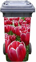 Mülltonnen-Aufkleber Motiv Tulpen 37 cm x 82 cm für 240 l Tonne