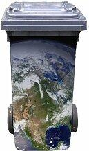 Mülltonnen-Aufkleber Motiv Weltkugel 37 cm x 82 cm für 240 l Tonne