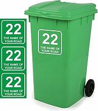 Mülltonnen-Aufkleber, personalisierbar, 18x18cm, 3er-Packung