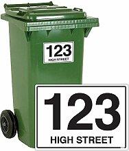 Mülltonnen-Aufkleber, personalisierbar mit Straßennamen, A6, aus Vinyl, 4 Stück