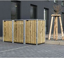 Mülltonnenbox 140l Holz natur 3er Box - Hide