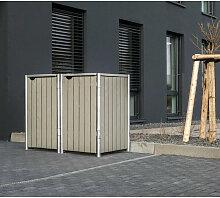 Mülltonnenbox 140l Holz natur grau 2er Box - Hide