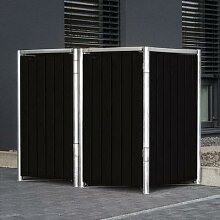 Mülltonnenbox 140l Kunststoff, 2er Box, schwarz