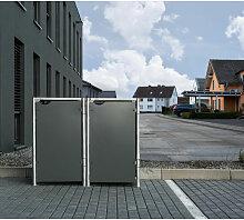 Mülltonnenbox 140l Kunststoff grau 2er Box - Hide