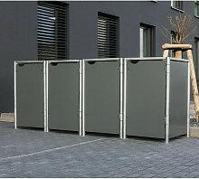 Mülltonnenbox 140l Kunststoff grau 4er Box - Hide