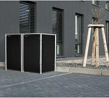 Mülltonnenbox 140l Kunststoff schwarz 2er Box -