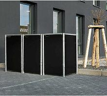 Mülltonnenbox 140l Kunststoff schwarz 3er Box -