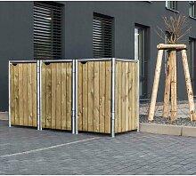 Mülltonnenbox 240l Holz natur 3er Box - Hide