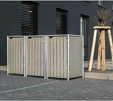 Mülltonnenbox 240l Holz natur grau 3er Box - Hide