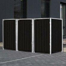 Mülltonnenbox 240l Kunststoff, 3er Box, schwarz