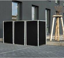 Mülltonnenbox 240l Kunststoff schwarz 3er Box -