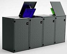 Mülltonnenbox 4x120L mit Kippdach aus Aluminium