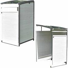 Mülltonnenbox - Anbaubox - weiß/grau
