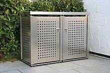 Mülltonnenbox aus Edelstahl für 2 Mülltonnen