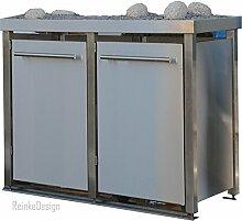 Mülltonnenbox aus Edelstahl mit Edelstahlpfosten,