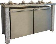 Mülltonnenbox aus Edelstahl mit Granitpfosten