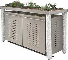 Mülltonnenbox aus Edelstahl mit Granitpfosten 8x8